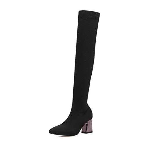 (Womens Long Boot Elastic Knit Socken Stiefel Damen Spitz Chunky High Heels Mode Über Knie Stiefel)