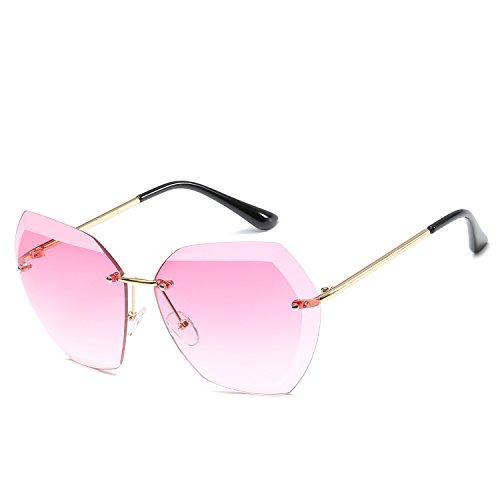 SUGLSO Stilvolle polarisierte Sonnenbrille Marine Sonnenbrille 7741 Trendy Brille Trim Damen Sonnenbrille Rahmenlose Sonnenbrille aus Metall Fahrerschutz für Männer (Farbe : Rosa)