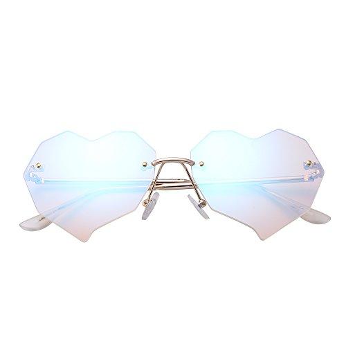 JIM HALO Herz Randlos Sonnenbrille Klar Flach Linsen Designer Brille Damen mit Nieten(Gold/Kristallblau)
