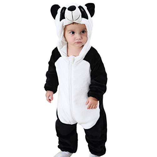 Neugeborene Kostüm Panda - Baby Overall Strampler Pyjama Onesie Kostüm Unisex Jumpsuit mit Kapuze Flanell Strampelanzug Spielanzug Langarm Cartoon Romper für Baby Neugeborenen Mädchen Jungen Herbst Winter Frühling(Panda,80)