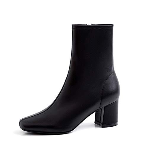 QPDUBB Ankle boots High Heels Boots Women Cow Leather Ankle Boot Square Toe Shoes Female Fashion Party Zip Shoes Ladies Autumn