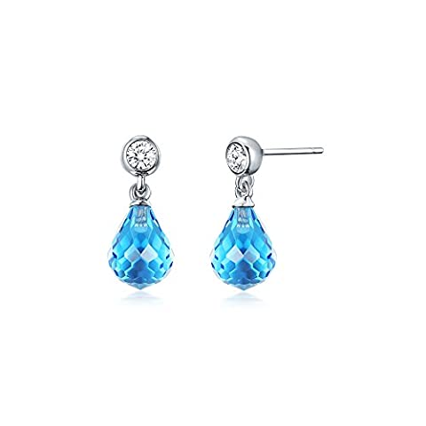 MYJS Frosted Droplet Hanging Drop Earrings Rhodium Plated with Aquamarine Teardrop Crystals