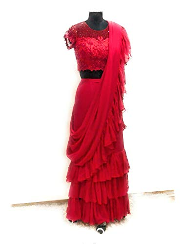 AP\'s Collection Georgette 4 Side Ruffle Lace Saree with Embroidered Net Blouse Piece (Red)