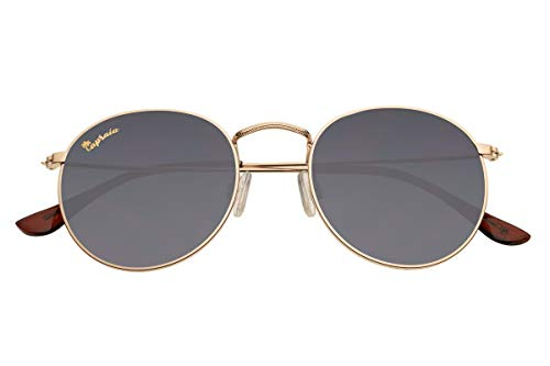 Capraia Bellone Cool Round Festival Sunglasses High Quality Golden Metal Frame and Dark Polarised Lenses UV400 protected Mens Womens