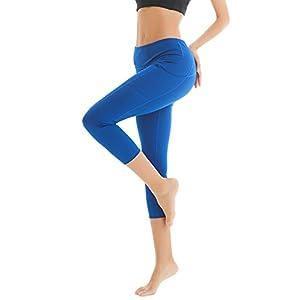 COOLOMG Damen Leggings Yoga Hose Sporthose Laufhose Training&Fitness mit Taschen XS-L MEHRWEG