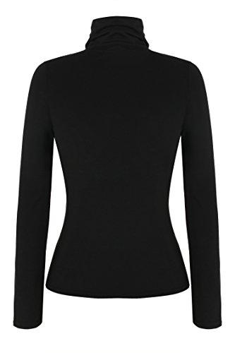 Zeagoo Damen Rollkragen Basic Slim Fit Shirt Langarmshirt Top Bluse Schwarz
