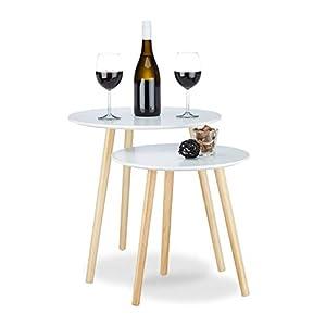 Relaxdays Beistelltisch 2er Set skandinavisch, 70er Design, Nachttische, Satztische, Durchmesser 39 und 47,5 cm, weiß
