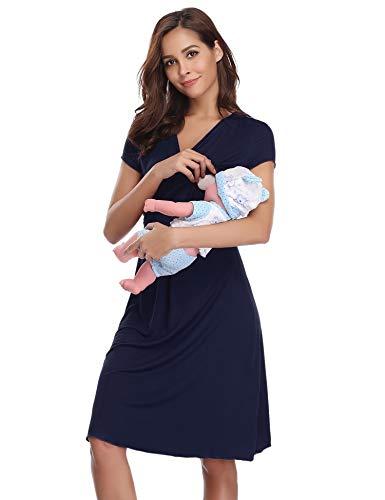 Hawiton pigiama camicia da notte premaman da donna morbido in cotone vestito camicia da notte per parto ospedale allattamento (l: it 46, a-blu)