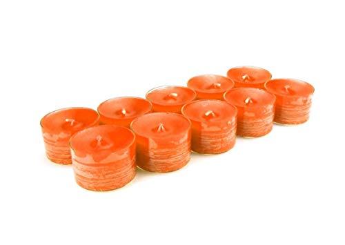 10 original Dänische 8 Stunden Teelichter ohne Duft im Acryl-Cup farbig durchgefärbt orange