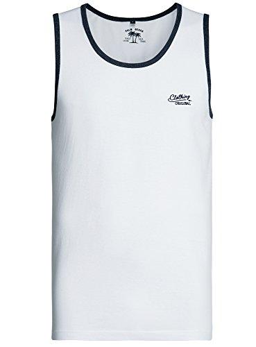 oodji Ultra Herren Tanktop Basic mit Kontrastbesatz Weiß (1079B)