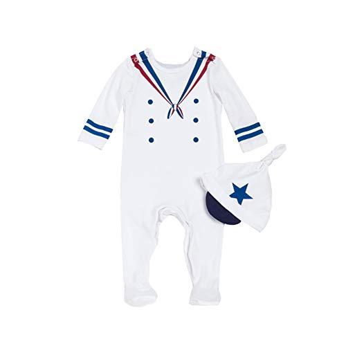 ALLAIBB Baby Boy Navy Sailor Strampler Anzüge Langarm Onesies Streifen mit Hut Gedruckt Size 66 (White)