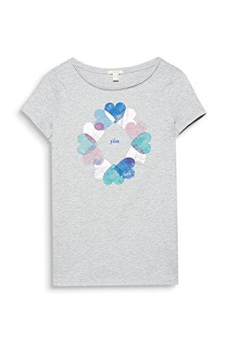 ESPRIT Damen T-Shirt Mehrfarbig (Light Grey 5 044)