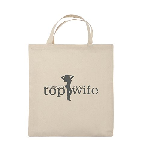 Comedy Bags - GERMANY NEXT top wife - Jutebeutel - kurze Henkel - 38x42cm - Farbe: Schwarz / Silber Natural / Grau