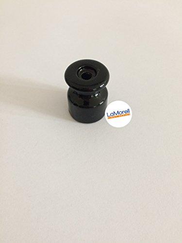 Preisvergleich Produktbild Isolator aus Porzellan,  Aufputz Kabelhalter für verseiltes Textilkabel Stoffkabel,  Schwarz - Made in Italy. 6 Stuck