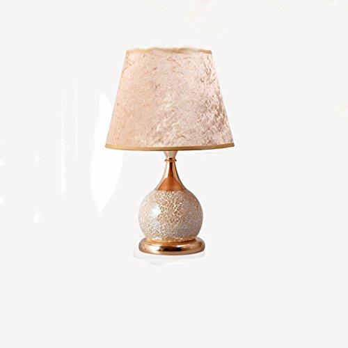 Leuchtmittel QY Schreibtischlampen - Doppel-Schalter im europäischen Stil warm und einstellbar dimmbare Glas-Fernbedienung kleine Tischlampe Nachttischlampen (Farbe : Noble Gold Light Switch)