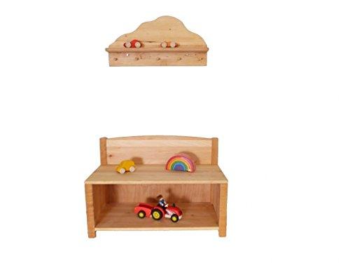 Kindergarderoben-Set 'Wolke' 8055 | Kinder-Garderobe mit Sitzbank und Garderobe | für Kindergarten und jedes Kinderzimmer | Sitzfläche, Schuhablage, Kleiderhaken