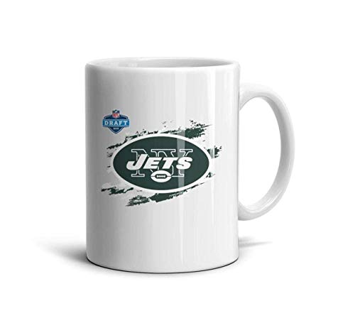 LUOBOGAN White Ceramic 11 OZ Coffee Mug Unique Water Tea Ceramic Tea Cup Friend,Dad,Grandpa,Brother Gifts,New York Jets-4,One Size (Mule Jet)