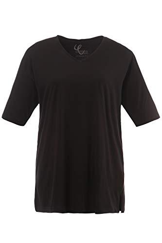 Ulla Popken Große Größen Damen T-Shirt, V-Ausschnitt, Schwarz (schwarz 10), 62/64 (Rücken Gedruckt T-shirt)