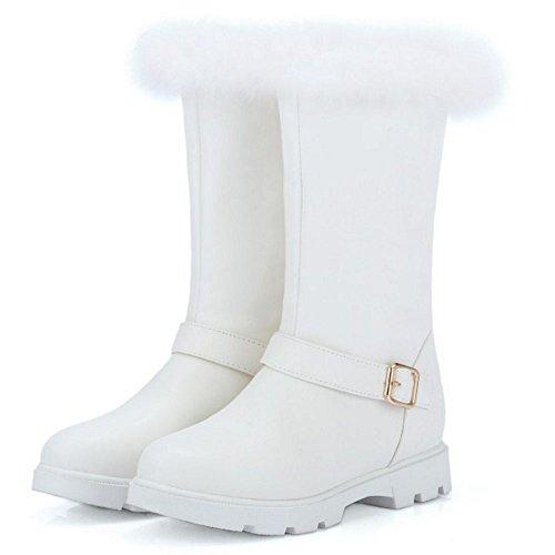 COOLCEPT Women Warm Boots Kunstfell Fur Inner Lining Schnee Stiefel Weiß