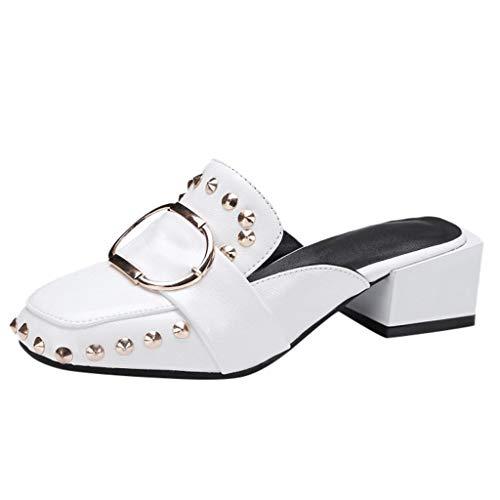 FNKDOR Schuhe Damen Mode Hausschuhe Niet Schnalle Pantoffeln Blockabsatz Im Freien Loafer Slipper Weiß 39 EU Tone Peep Toe Slingback Sandal