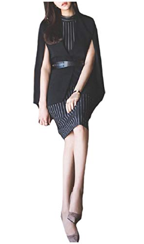 Belted Cotton Blazer (CuteRose Women's Cloak Coat Belted Striped Pencil Dresses Blazer Suits Black XS)