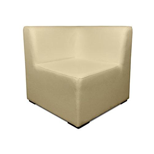 SUENOSZZZ- Sofa Exterior Modular Benahavis rinconera Color beig tapizado en Polipiel Silva. Chill out Jardin o recepcion.