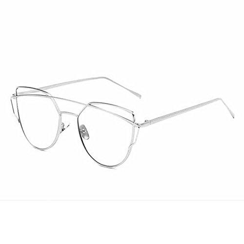 Preisvergleich Produktbild Katzenaugen Sonnenbrille für Frauen, Pawaca Gespiegelte Flache Linsen Straße Moderne Art und Weisemetallrahmen Sonnenbrille UV400