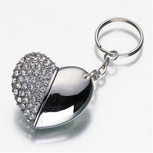 USB-Stick Massenspeichergerät, 8GB, Design Schlüsselanhänger mit Herz, Strass -