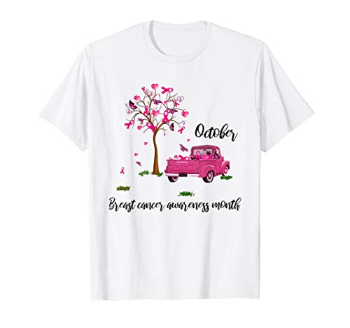 October breast cancer awareness month pink ribbon tree truck T-Shirt -