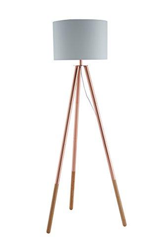 SalesFever Stehlampe, Stehleuchte, Metall- + Holzbeine in kupfer-braun, Lampenschirm in Weiß, Polyester, robuster Stoff, Holz, Metall, Wohnzimmerlampe, Druckschalter, 42 x 29 x 153 cm