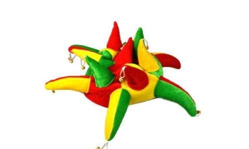 Flagmania® Kostümmmütze, Rot, Grün und Gelb Supporters Jester Hut - Kostüm, 59 mm (Jester Hut Kostüm)