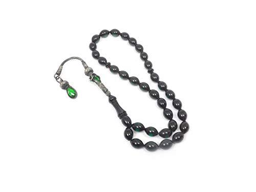 Gök-Türk 925 Sterling Silber Gebetskette - Tesbih 33 Perlen Tasbih Islam Muslim Modell 27 - Bernstein Farbe Kehribar Grün (Gebet Halskette Perlen Muslimischen)