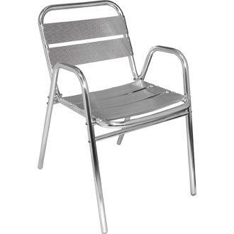 Giardino/Patio sedia con braccioli impilabile in alluminio ad arco (confezione da 4) - Elegante e resistente mobili per il giardino