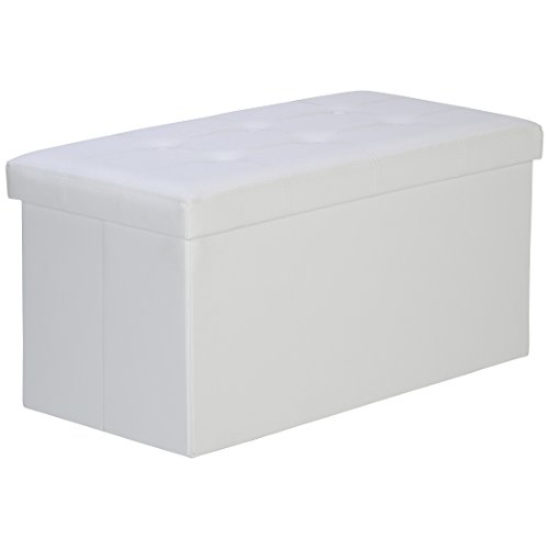 LEVIVO Banco Acolchado con Caja de Almacenamiento, Stuff, Blanco, 77x38x38 cm
