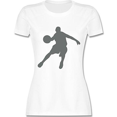 Basketball - Basketballspieler - tailliertes Premium T-Shirt mit Rundhalsausschnitt für Damen Weiß