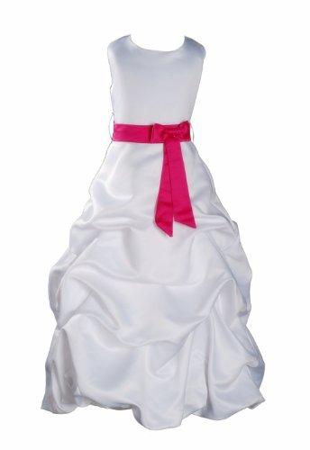 Cinda Mädchen Weiß Brautjungfer/Heilige Kommunion Kleid Fuchsia Schärpe 80-92