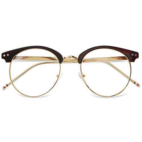 KOOSUFA 50er Jahre Retro Brille ohne Sehstärke Damen Herren Rund Nerd Brille Brillengestelle Metallrahmen Deko Brille Vintage Brillenfassung mit Etui (Braun)
