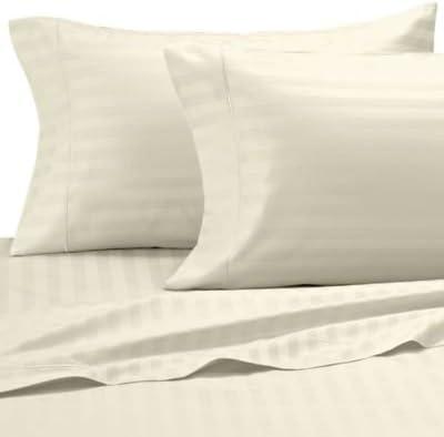Super Soft- 250-thread-count cotone egiziano lenzuola letto set lenzuola egiziano 18 pollice Extra Profondo tasca matrimoniale piccola, Avorio crema di burro, motivo a righe, 250TC 100% set di lenzuola di cotone 814911