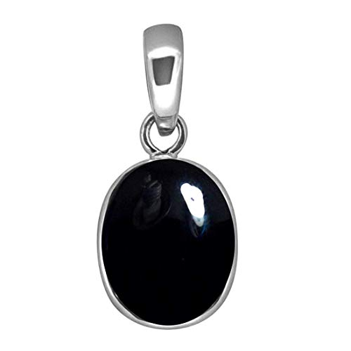 Colgante de ónix negro real de 3 quilates y plata