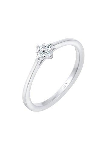 Diamore Damen Solitärring 925 Sterling Silber Diamant 0,08 ct weiß Brillantschliff 0607380416_52