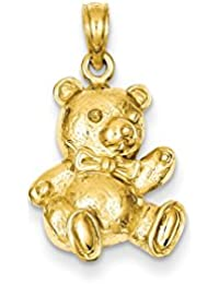 ICE CARATS 14k Yellow Gold Teddy Bear Pendant Charm Necklace Baby Fine Jewelry Gift Set For Women Heart