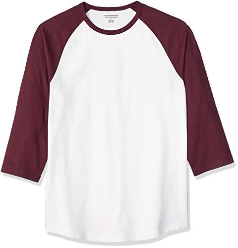 Amazon Essentials Slim-Fit 3/4 Sleeve Baseball fashion-t-shirts, Port/White, US S (EU S)