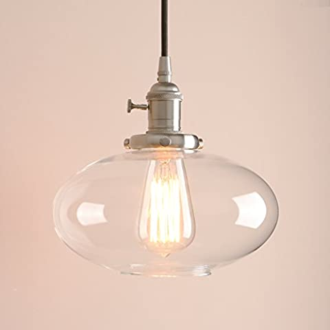 Pathson Industrial Vintage Loft Bar Pendant Light Ceiling Light Brushed Lamp Fitting Chandelier with Clear Glass Lampshade Lantern for Kitchen Island Living Room Dining Room Bedroom Office