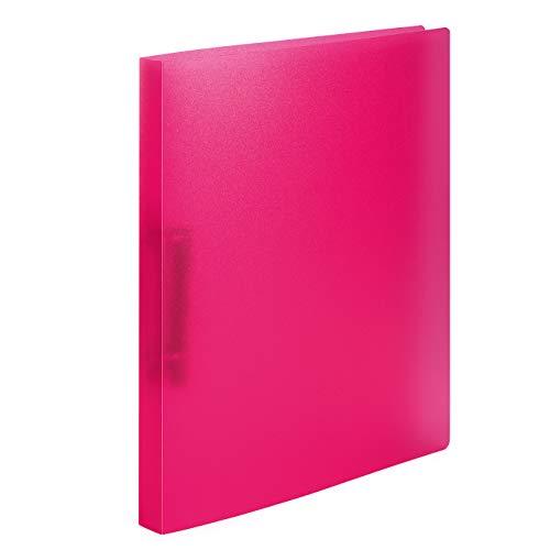 HERMA 19164 Ringbuch DIN A4 Transluzent Pink, 2 Ringe, 25 mm breit, schmaler transparenter Ringbuchordner aus stabilem Kunststoff, 1...