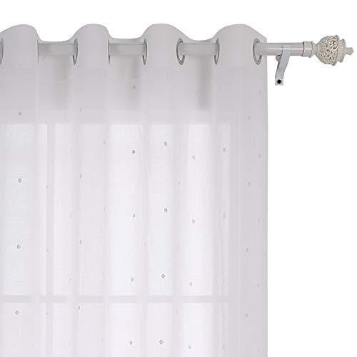 Deconovo tenda voile ricamate pois pattern tenda trasparente con occhielli per camera da letto 140x240 cm bianco un pannello