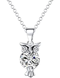 Glitz Trendy Fashion Alloy Crystal Stud Owl Pendant Necklace For Women - Special Jewelry