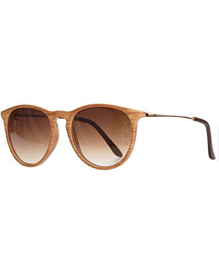 caripe Retro Sonnenbrille Damen Herren Hornbrille Vintage Brille verspiegelt + getönt - 139 (big - Holzoptik natur - braun getönt-s961W)