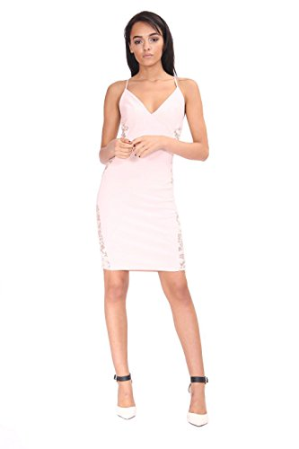 Ladies Side Lace Panel Cami Robe moulante EUR 36-42 Nu