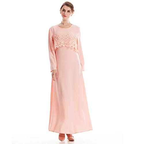 Muslimische Kleider Damen,WQIANGHZI Abendkleid Islamische Dubai Gewand Robe Kaftan Abaya Kleidung Formal Hochzeit Kleid Elegant Sommer Mode Rosa Marine (Rosa, M) Rosa Formale Kleid