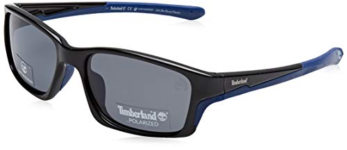 Timberland eyewear tb9172 occhiali da sole, shiny black/smoke polarized, 57 uomo